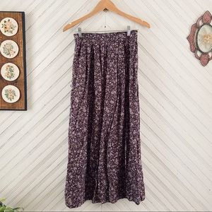 Floral Pleated Vintage Maxi Skirt